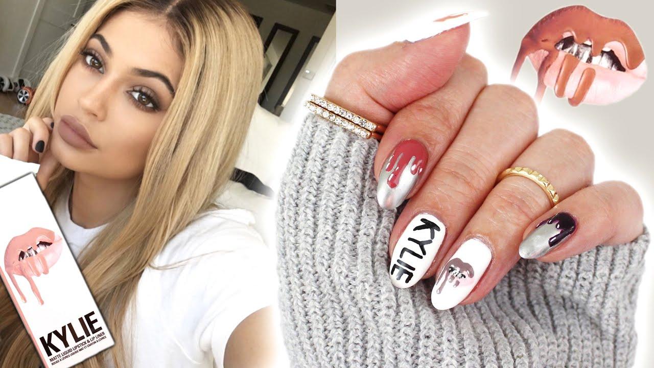 Kylie jenner lip kit inspired nail art youtube prinsesfo Choice Image
