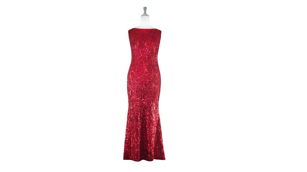 d856af15c5e3 Long Cowl Back Handmade Red Sequin Dress - YouTube
