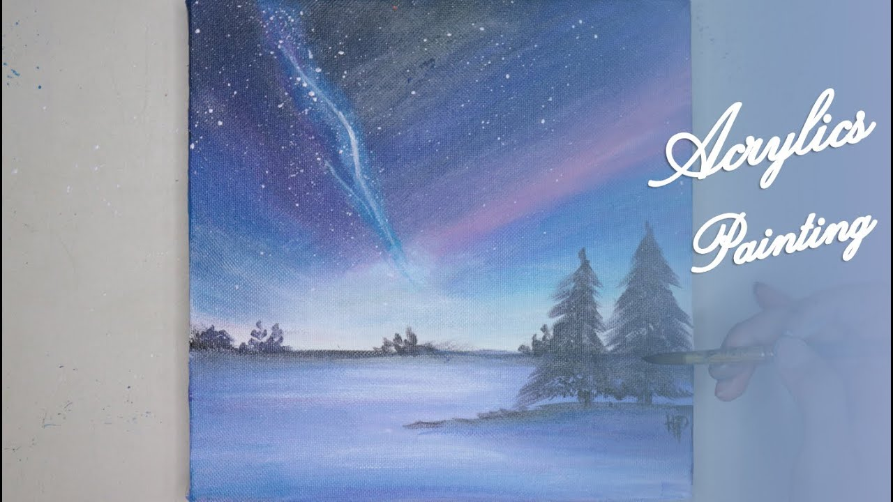 Acrylics Painting #111Step by Step Draw Night Sky Acrylic Painting For Beginners