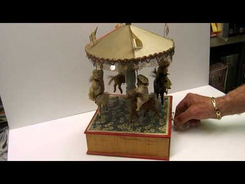 Vintage 1800's 1900's Musical Wind Up German Carousel Merry Go Round