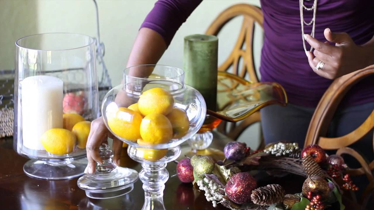 How to decorate with bowls of fake fruit candles for Artificial pears decoration