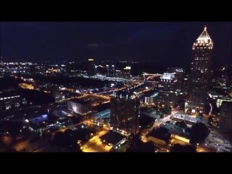 UAV/Drone Views of Midtown Atlanta Skyline at Night (Time-Lapse)