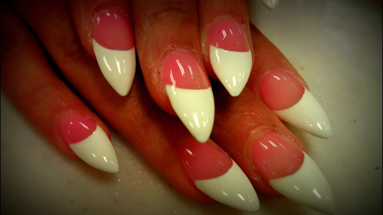 FRENCH MANICURE DESIGN ON STILETTO NAILS - YouTube