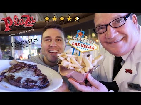 Eating At The BEST Reviewed STEAKHOUSE In LAS VEGAS (Oscar's Steakhouse The Plaza)