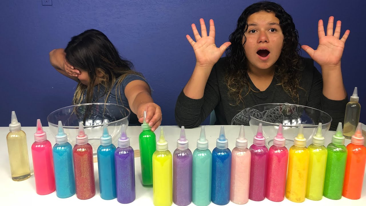 Slime Master Mary And Izzy: 3 COLORS OF GLUE SLIME CHALLENGE