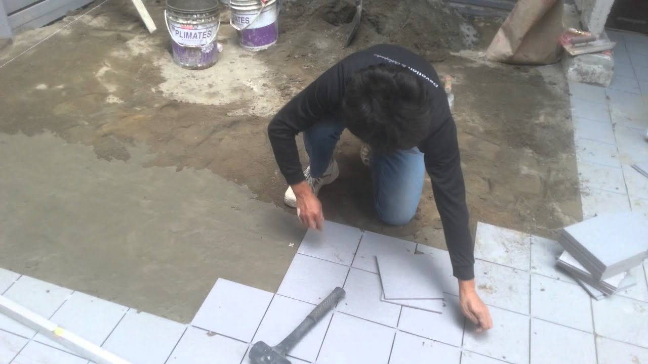 Ceramic Floor Tile Installation Process With Sloping Gradient Youtube