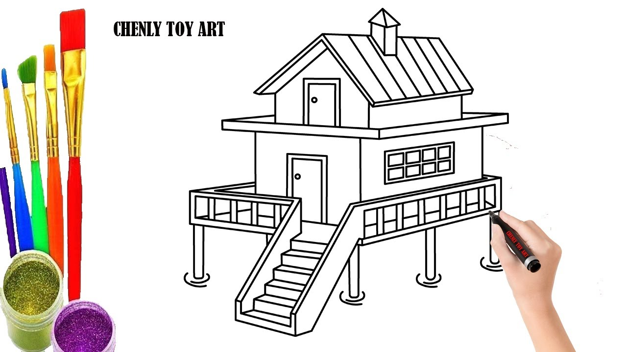 How To Draw 3d House Step By Step 3d House Drawing And Coloring Page Chenly Toy Art Youtube