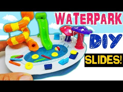 HOW TO MAKE MINIATURE WATER PARK POOL SUMMER diy craft polymer clay epoxy resin uv tutorial
