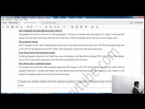 ACCA P6 UK | Inheritance Tax (Trusts) AccountancyTube.com