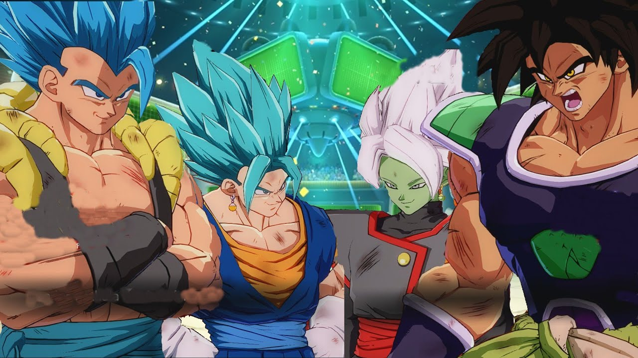 "Gogeta y Vegetto vs Broly y Zamasu ""Dragon Ball Super"" Dragon Ball Fighterz"