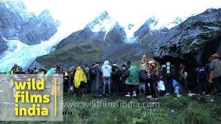 Devotees offer prayer during Nanda Devi Raj Jat Yatra, Uttarakhand