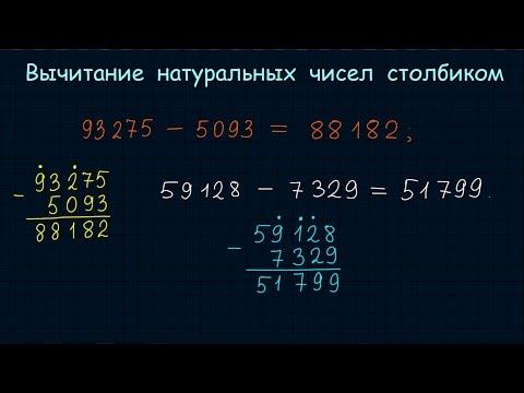 Вычитание натуральных чисел столбиком