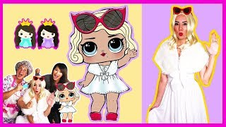LOL Surprise Dolls  In Real Life with Toy Hair Salon dress up play! Princess ToysReview
