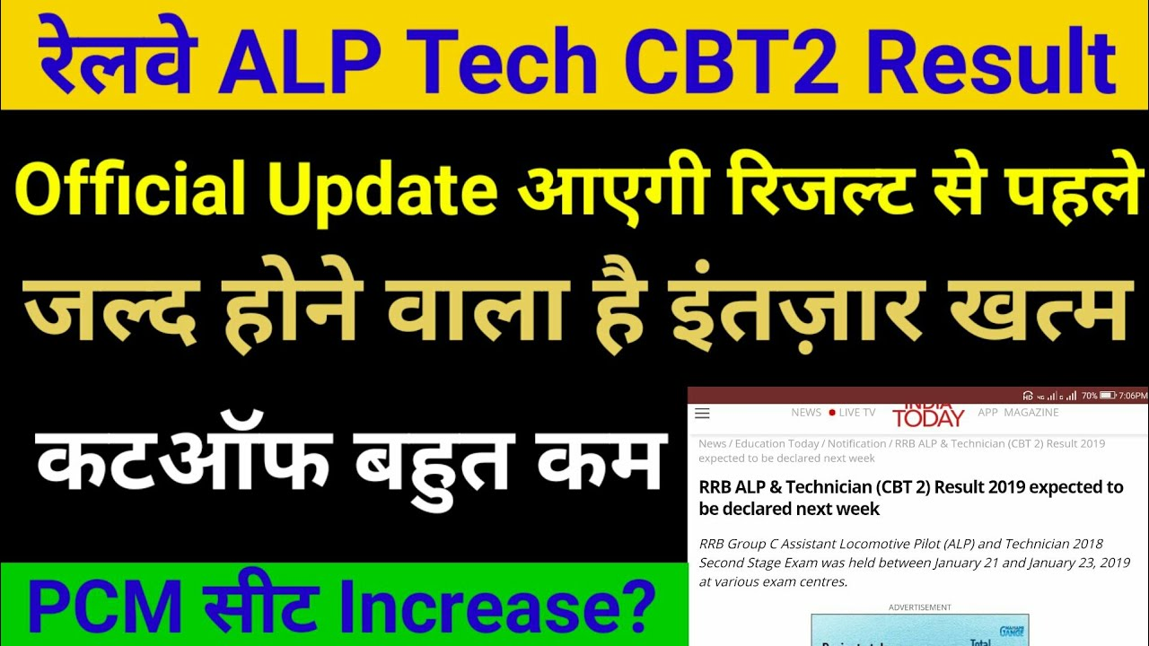 3042caf47  RailwayAlpCbt2Result  AlpTechCutoff Railway alp cbt2 result declared next  week latest news cutoff