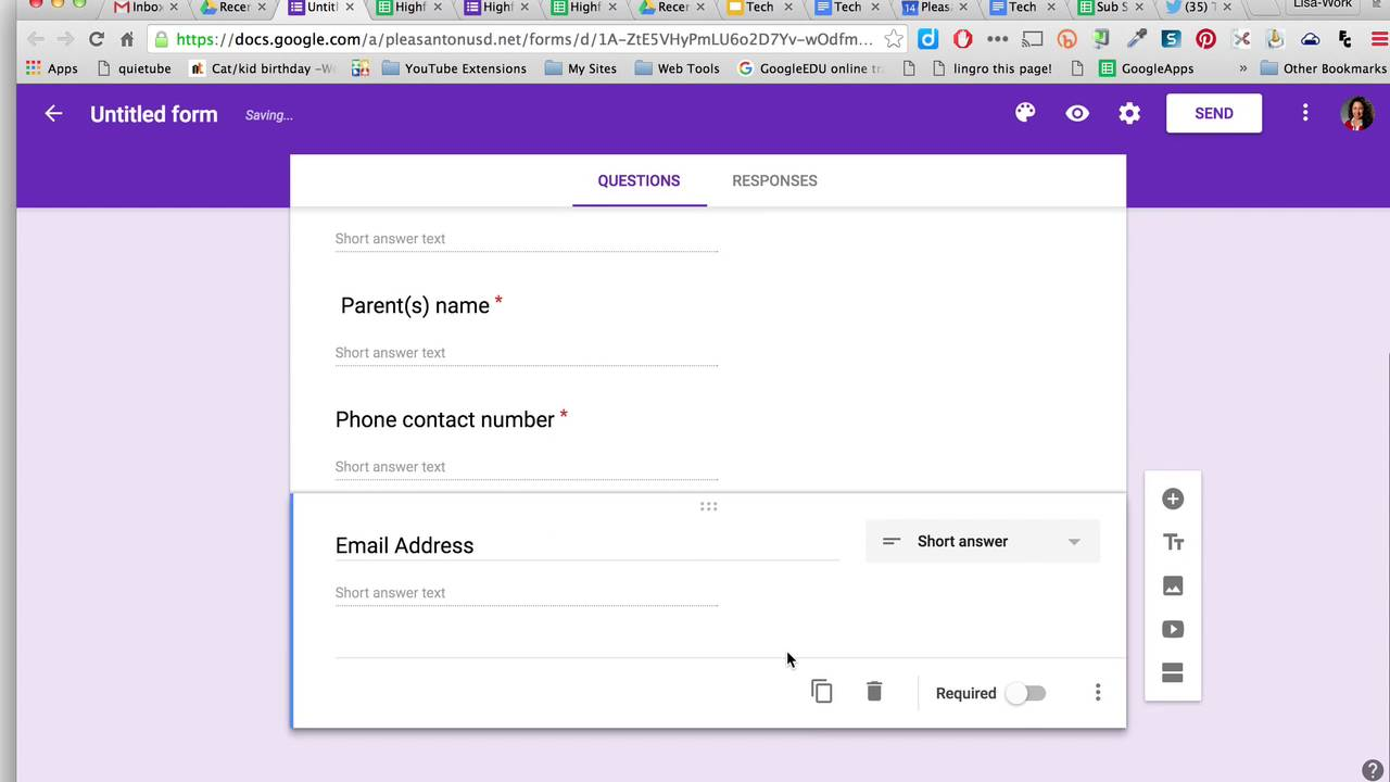 How to create a google form for back to school contacts youtube how to create a google form for back to school contacts ccuart Image collections