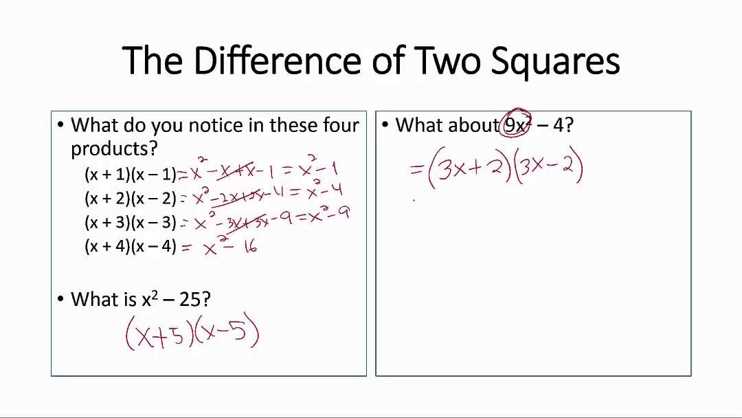The Difference of Two Squares   YouTube