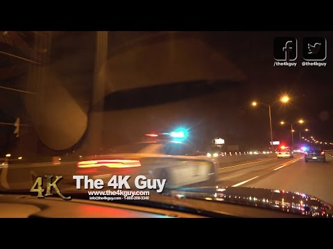 Montreal: Highway cops clear cars with PA at fireworks 7-23-2016