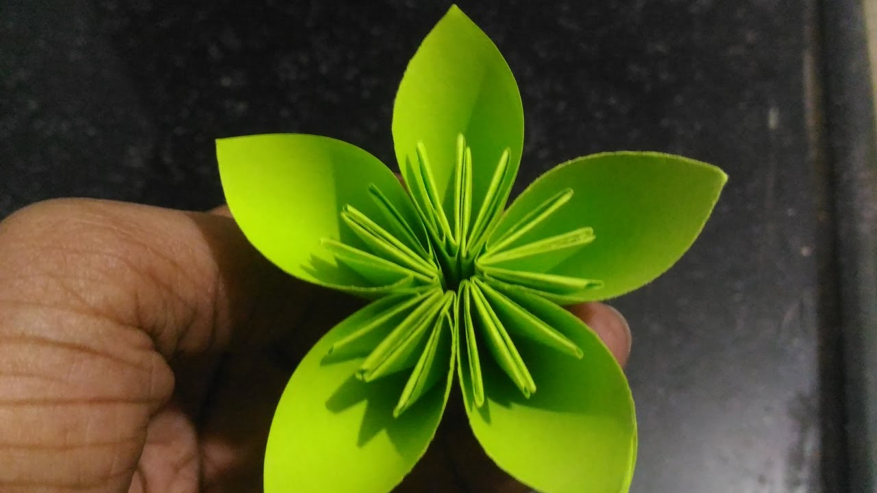 How To Make A Green Paper Flower Easy Way Youtube