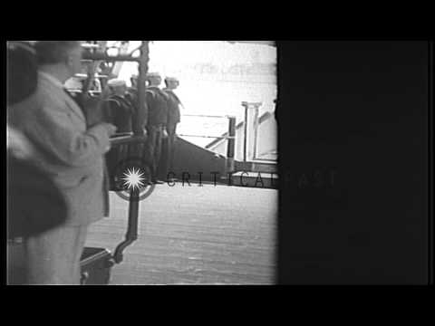 President Roosevelt greets British Prime Minister Churchill aboard USS Augusta, A...HD Stock Footage