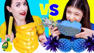 ASMR Blue Food VS Yellow Food Challenge by LiLiBu