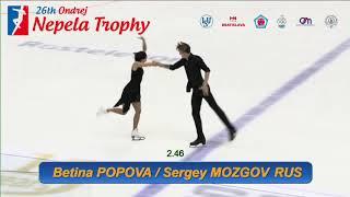 Betina POPOVA / Sergey MOZGOV -  Ondrej Nepela Trophy 2018  Ice Dance - Rhythm Dance -Sept. 21, 2018