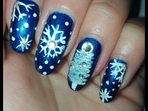 Christmas Nail Art Tutorial Christmas Tree And Snowflakes  Rose Pearl