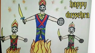 Happy dussehra  drawing - Ravan drawing and coloring for kids
