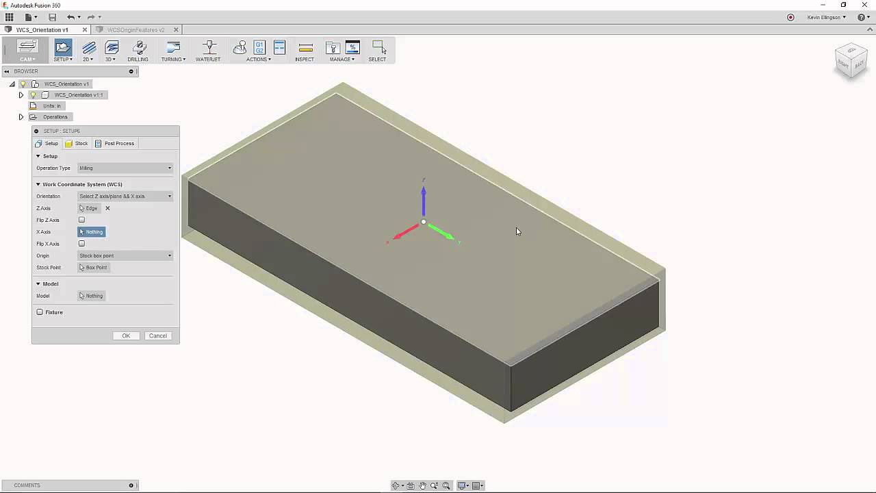Creating a Fusion 360 CAM Work Coordinate System WCS