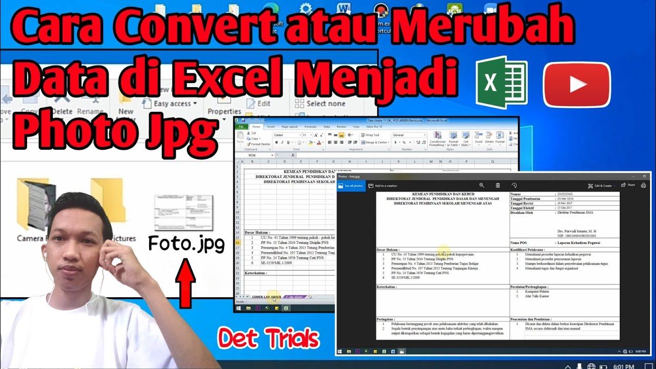 Cara Convert Merubah Data Di Excel Menjadi Photo Jpg Youtube