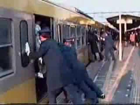 El metro de Tokio en hora punta