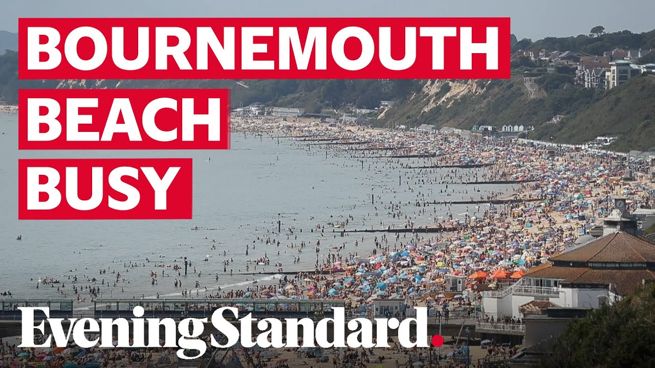 Bournemouth beach busy as heatwave hits and council issues 'red alert' over social distancing