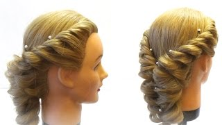видео прически с плетением на средние волосы