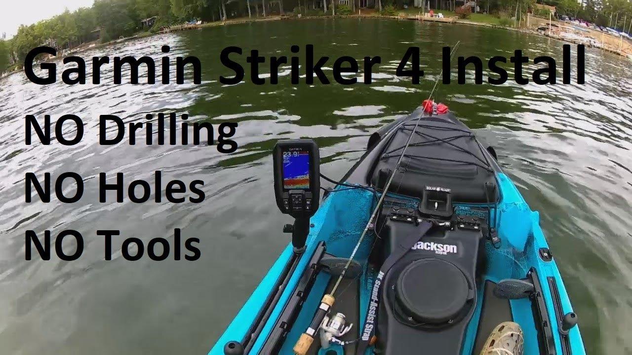 Garmin Striker 4 Kayak Install...Simple Transducer Mounting Option on