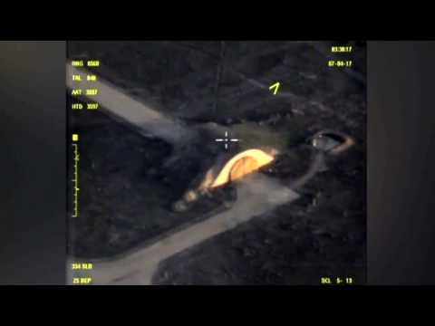 Russian Military releases video of Syria airbase after US missile strike APRIL 7 2017