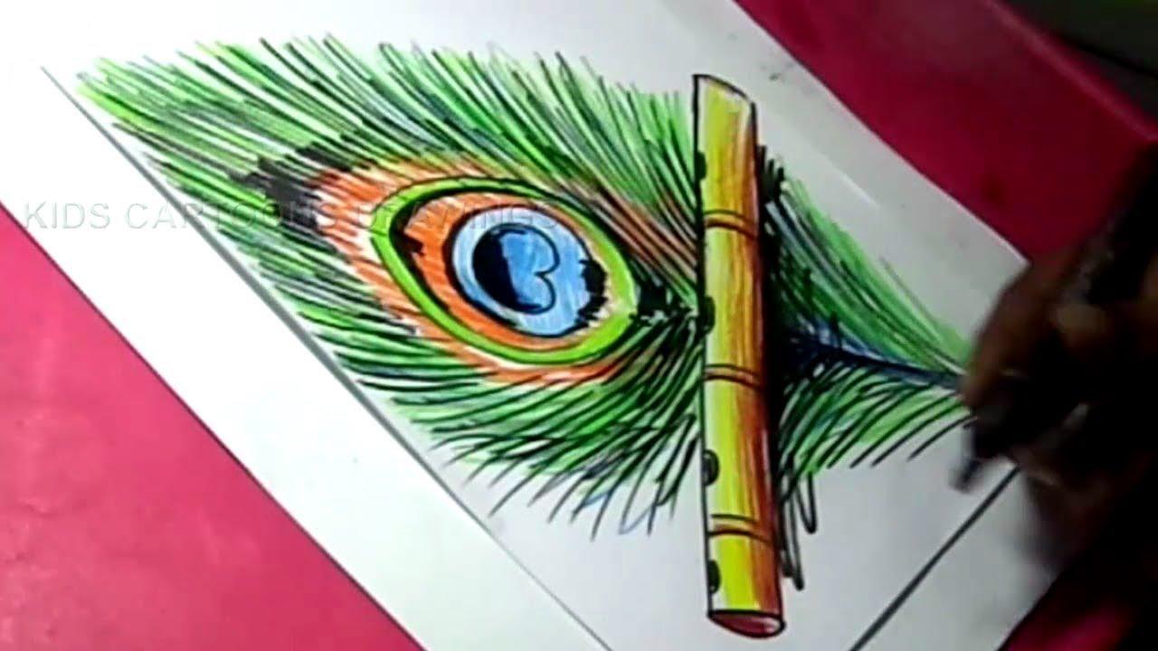 How To Draw Happy Lord Sri Krishna Janmashtami Greeting Drawing