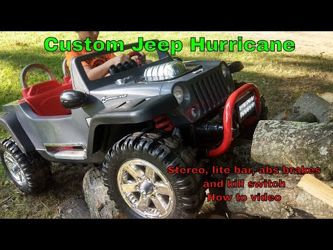 Custom Jeep Hurricane Build- Bluetooth Stereo, Light Bar, Abs Brakes And Parent Remote Kill Switch