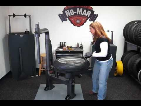 A Girlie Motorcycle TIre Change On No Mar Tire Changer