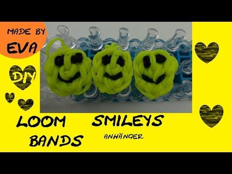 DIY Loom Bands Smiley Anhänger auf Loom Board Anleitung deutsch Rainbow Loom Happy Face Charm