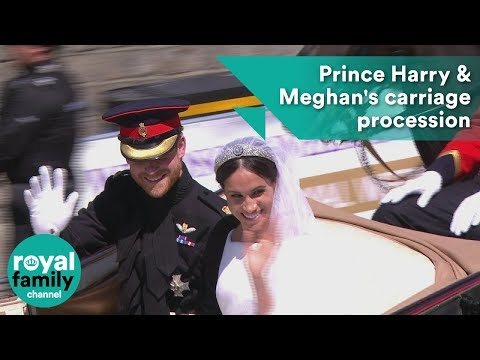 Prince Harry and Meghan's carriage procession through streets of Windsor