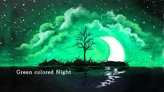 Oil pastel drawing, night scenery with moon, art healing