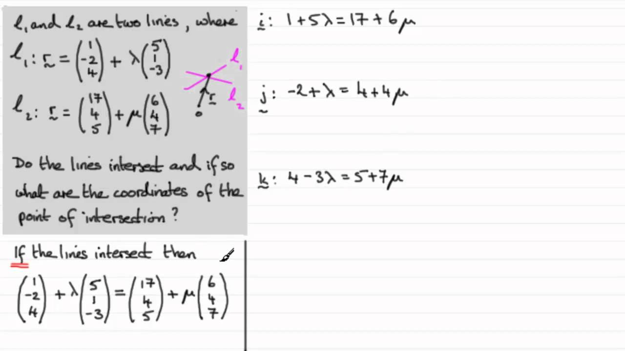 Vectors Intersecting And Skew Lines Examsolutions Youtube