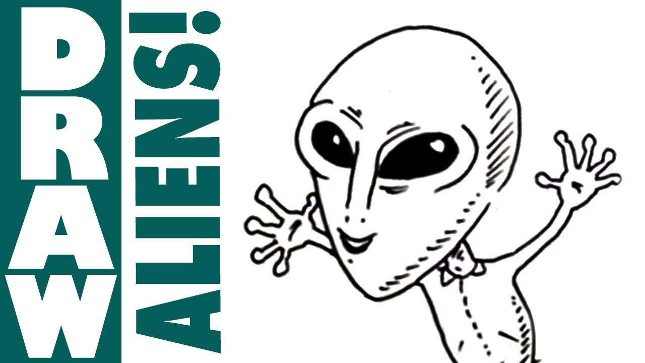 How to draw cartoon aliens spoken tutorial youtube