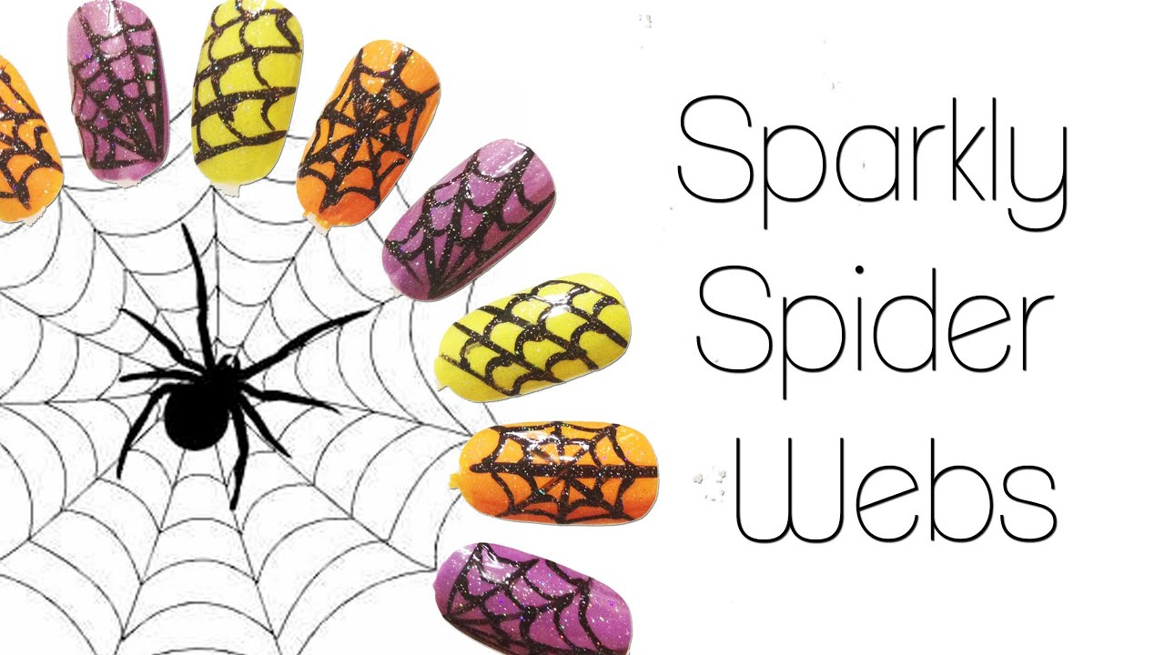 HALLOWEEN: Easy Sparkly Spiderweb Nails ♥ - YouTube