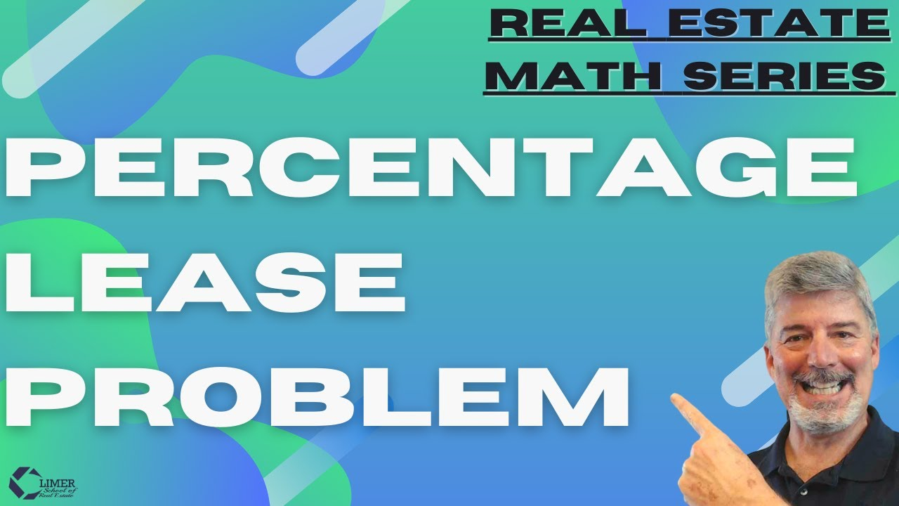 Real Estate Math Free Practice Test-1, No 6, Percentage Lease Problem State  Exam Math