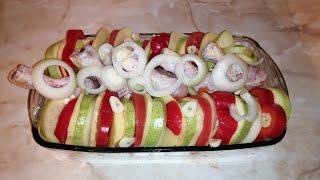 Куриные голени с овощами в духовкевкусный ленивый ужин