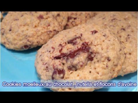 """""""cookies-moelleux-au-chocolat-,nutella-et-flocons-d'avoine/recette-cookies-américains"""