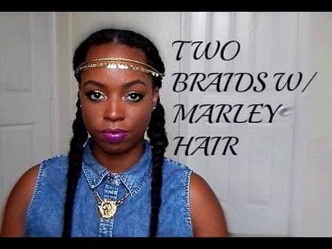 Natural hair two braids with marley hair youtube ccuart Image collections
