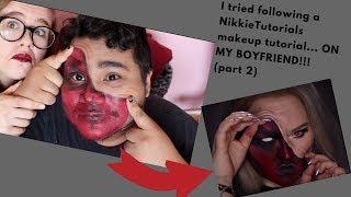 I tried following a NikkieTutorials makeup tutorial... ON MY BOYFRIEND!?!?!?! (Part 2)|Sparkles