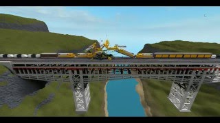 ROBLOX Train Crashes on a Bridge