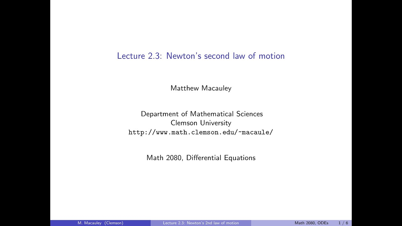 What Equation Is Used To Represent Newton S Second Law Of Motion